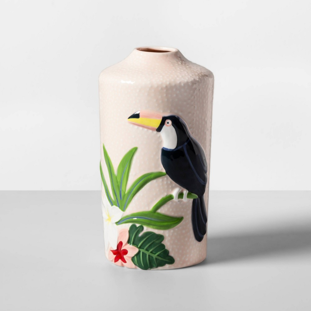 This Stoneware Flamingo Vase from Opalhouse™ adds a splash of color and fresh vibes to your interior decor. This colorful vase showcases a pink textured exterior with an image of a bird and foliage in multiple hues, creating a cheerful addition to any room. Crafted from stoneware for long-term sturdy use, you can easily display this accent piece anywhere from an end table to a bookshelf or mantel with a small arrangement of flowers. Whether you're planning on creating your own oasis indoors or simply want to upgrade your abode, you'll love having this flamingo decorative vase close at hand. This is your house. Where you create spaces as bold as your spirit. Collect objects as inspired as your dreams. Find pieces that remind you of every place you've been. Discover stories to inspire everywhere you have yet to go. This is Opalhouse. Color: MultiColored. Gender: unisex.