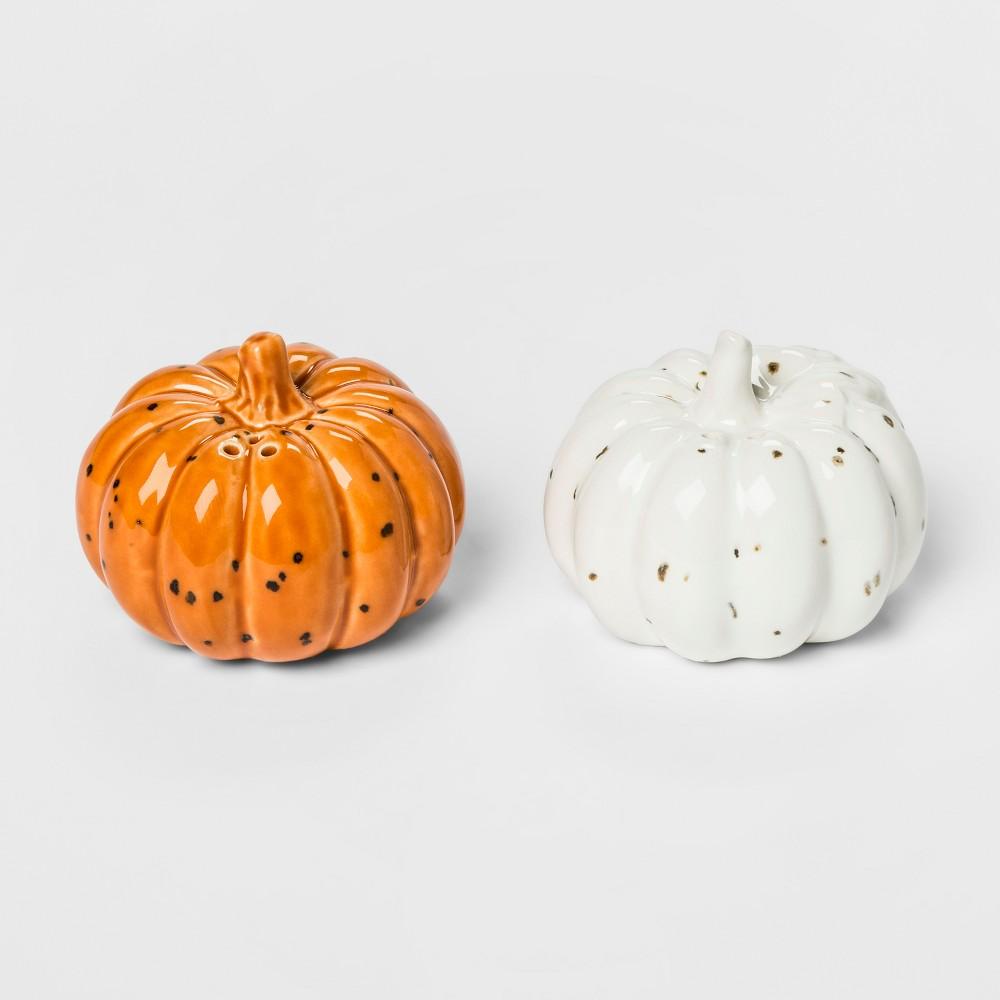 2pk Stoneware Pumpkin Salt And Pepper Set Orange/White - Threshold