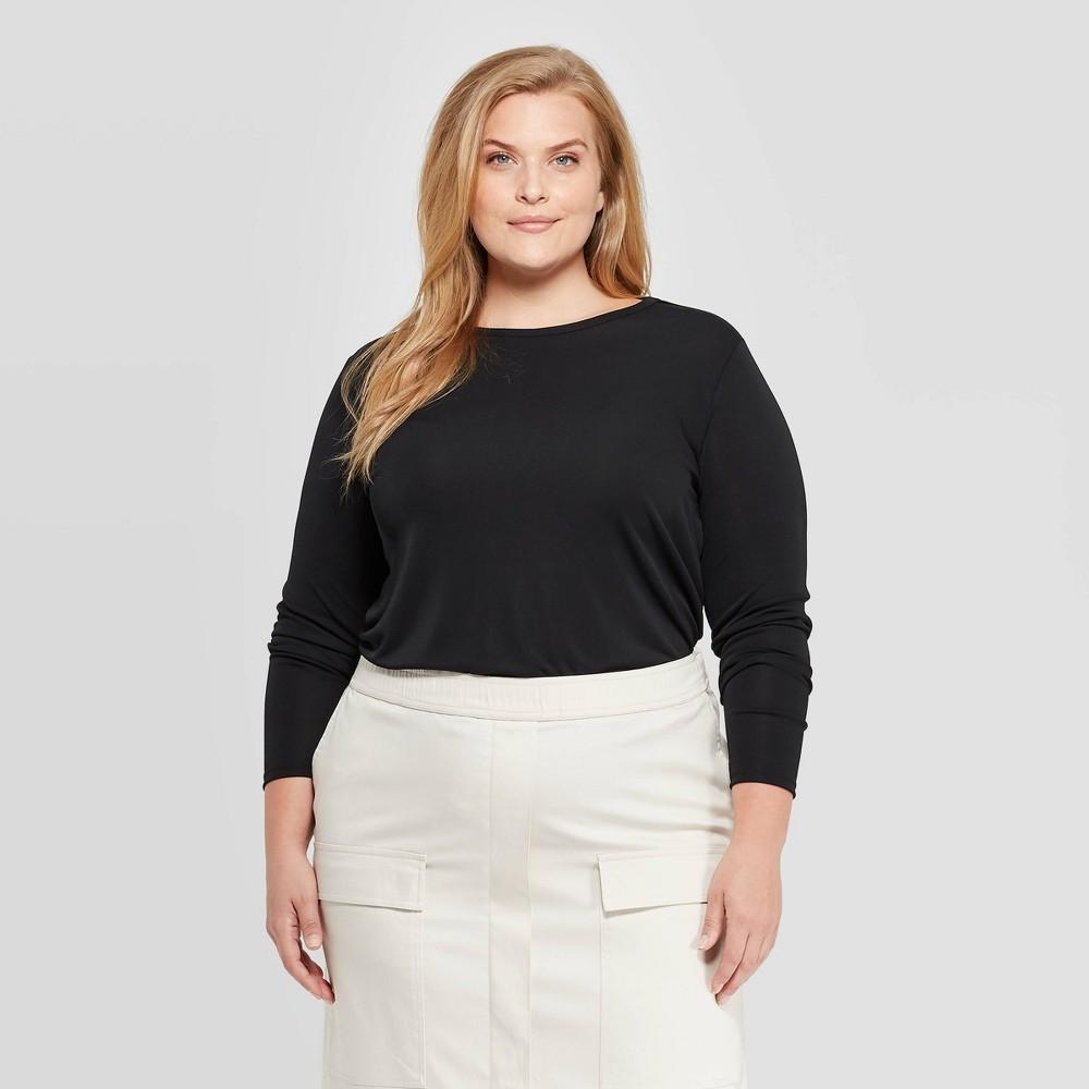 Women's Plus Size Long Sleeve Round Neck T-Shirt - Prologue Black 4X