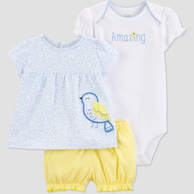 Baby Girls' 3pc Bird Diaper Cover Set - Just One You® made by carter's Blue/Yellow/White 12M