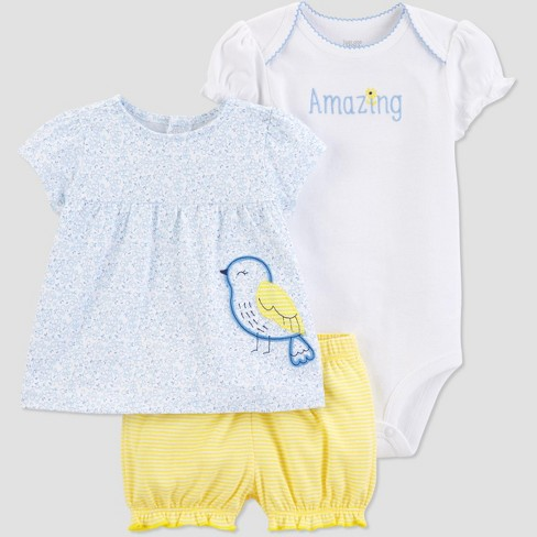 Baby Girls' 3pc Bird Diaper Cover Set - Just One You® made by carter's Blue/Yellow/White - image 1 of 1