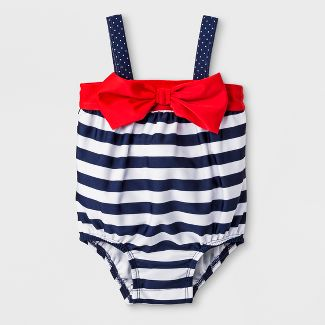 Baby Girls' Stripe Bubble One Piece Swimsuit - Cat & Jack™ Navy 3-6M