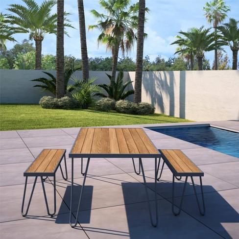 paulette 3pc patio table and bench set charcoal gray novogratz