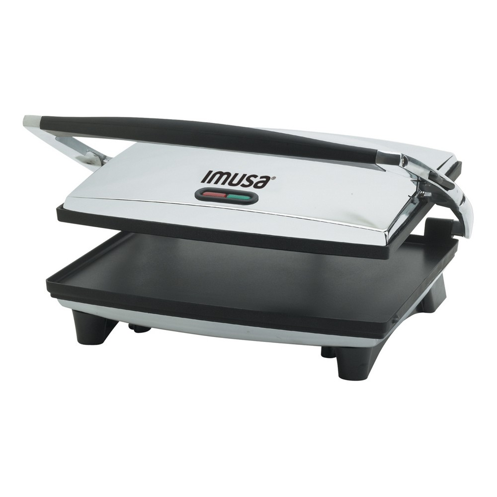 Imusa Electric Stainless Steel Panini/Sandwich Press, Silver Turn your kitchen into an Italian bistro with this Electric Panini and Sandwich Press from Imusa. The panini press is perfect for making delicious and quick restaurant-quality lunches — use the panini maker for everything from grilled cheeses, veggies, pork chops and more! The large nonstick griddle will make for a perfectly grilled sandwich while also keeping it easy to clean — you'll love being able to cook delicious food in just minutes. Color: Silver.