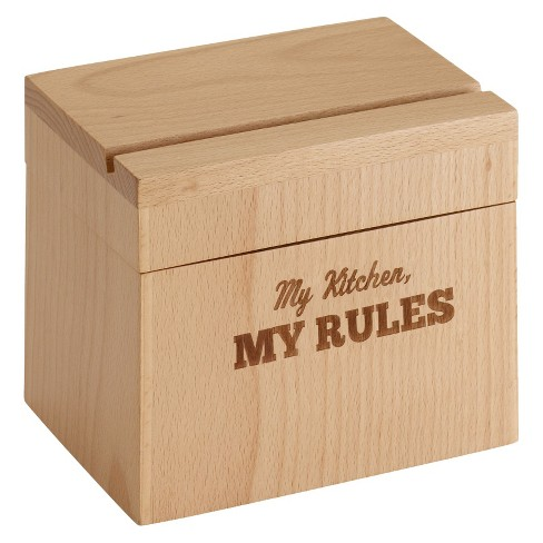 Cake Boss Countertop Accessories Beechwood Recipe Box with My Kitchen-My Rules - image 1 of 4
