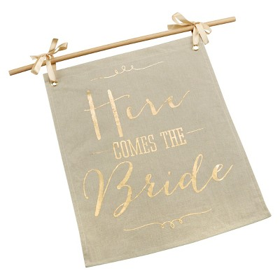 Kate Aspen Gold Foil Here Comes the Bride Sign