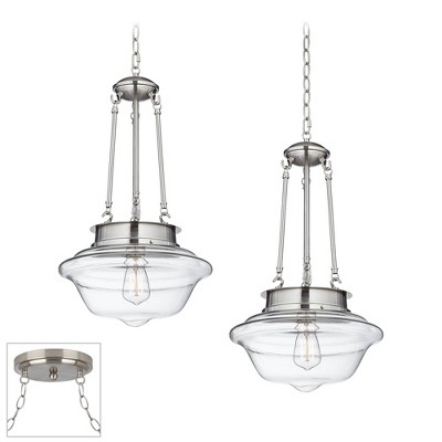 Possini Euro Design Brushed Nickel Swag Pendant Chandelier Modern Schoolhouse Clear Glass 2-Light Fixture for Dining Room Kitchen