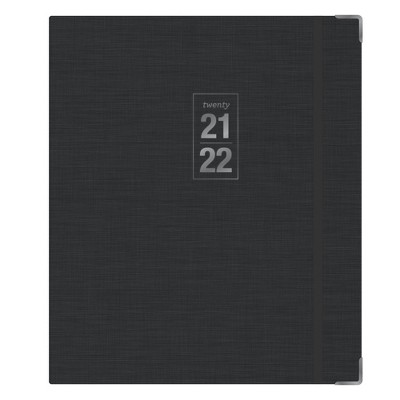 "2021-22 Academic Planner 8"" x 10"" Fabric Hard Cover Bookbound Weekly/Monthly Charcoal - Blue Sky"