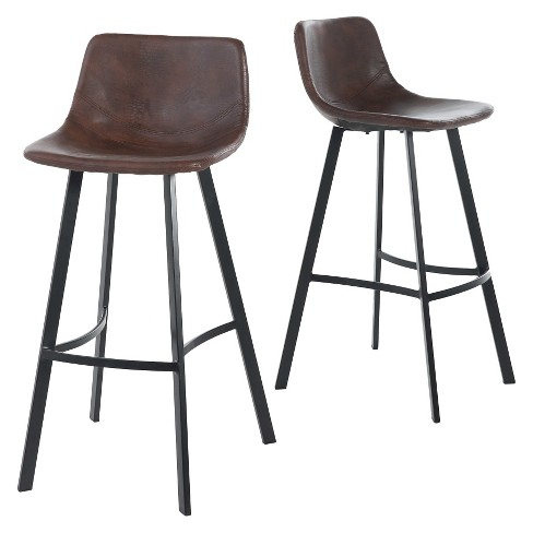 30 Dax Faux Leather Barstool Brown Set Of 2 Christopher