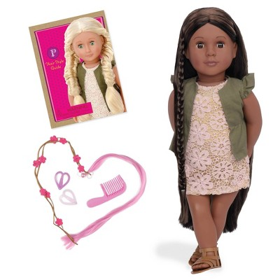 """Our Generation 18"""" Hair Grow Doll with Hair Clips & Styling Book - Neveah"""