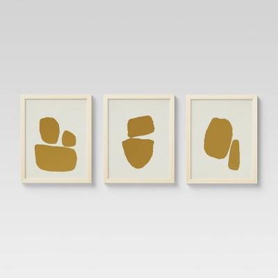 "(Set of 3)16"" x 20"" Foil on Cream Framed Print Gold - Project 62™"