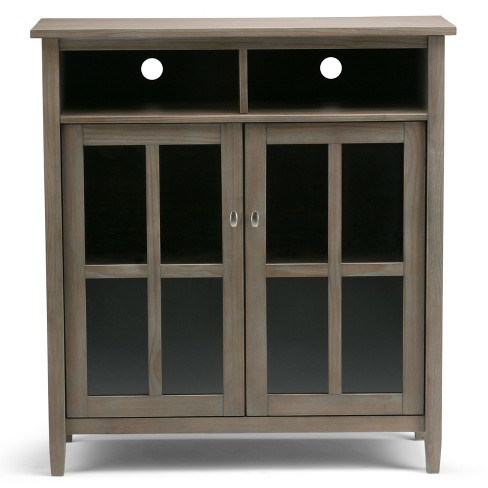 Warm Shaker Medium Storage Media Cabinet Distressed Gray