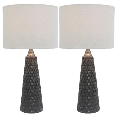 "26.5"" Set of 2 Ceramic Desk Lamps Charcoal - Decor Therapy"
