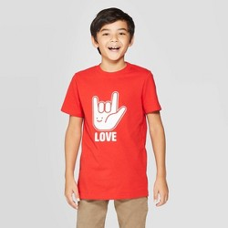 Boys' Valentines Day Short Sleeve Graphic T-Shirt - Cat & Jack™ Red