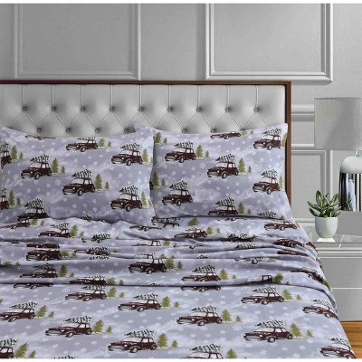 Printed Pattern Extra Deep Pocket Cotton Flannel Sheet Set - Tribeca Living