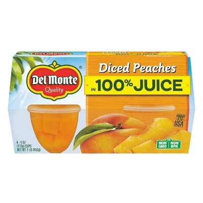 Del Monte Diced Peaches In 100% Juice Fruit Cups - 4pk