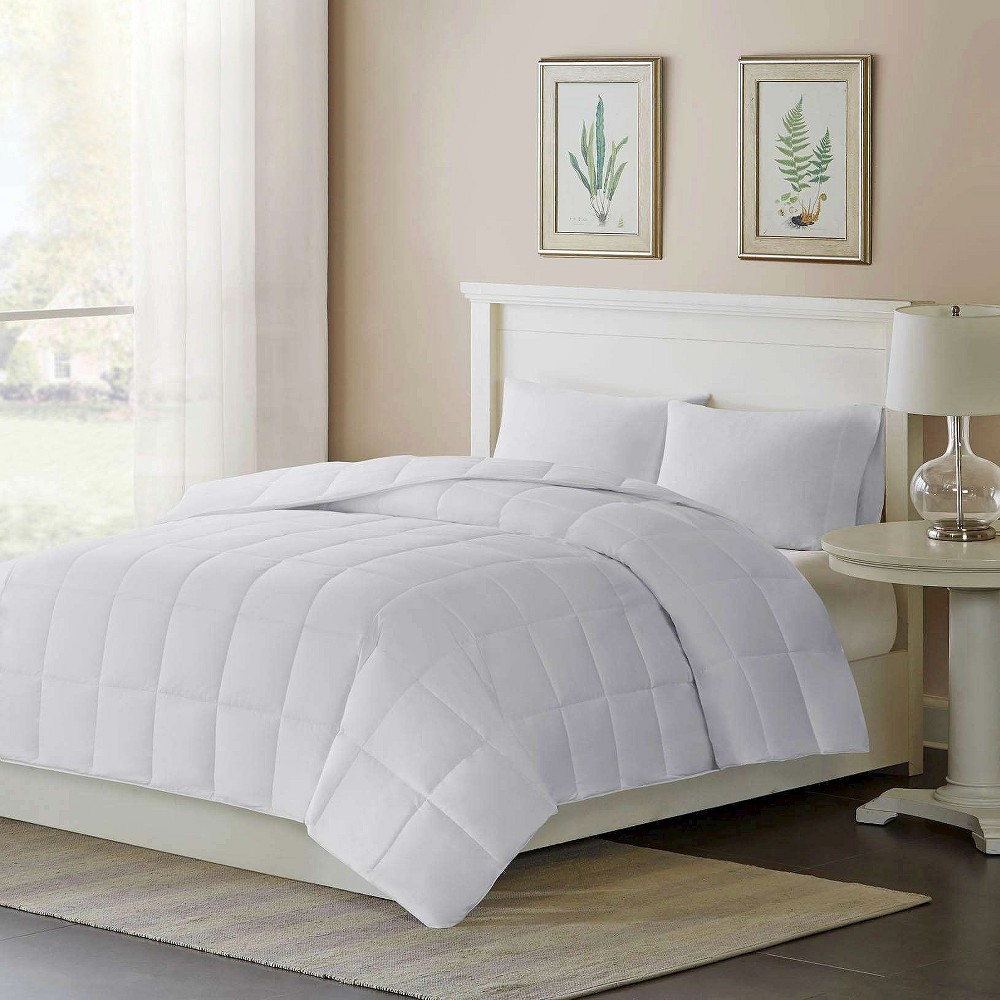 Image of Cotton Sateen Down Alternative Comforter Level 2 Warmer 3M Thinsulate Warmer (Twin) White