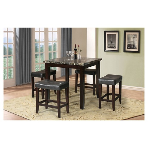 Ainsley 5 Piece Counter Height Dining Set Black Faux Marble And Espresso Acme Target