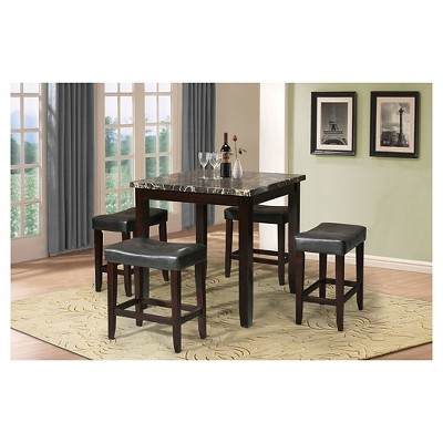 Exceptionnel Ainsley 5 Piece Counter Height Dining Set   Black Faux Marble And Espresso    Acme : Target