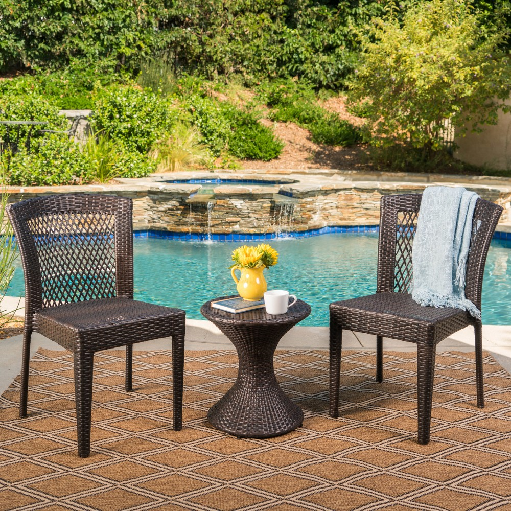 Riggs 3pc Wicker Chat Set - Multibrown - Christopher Knight Home, Brown
