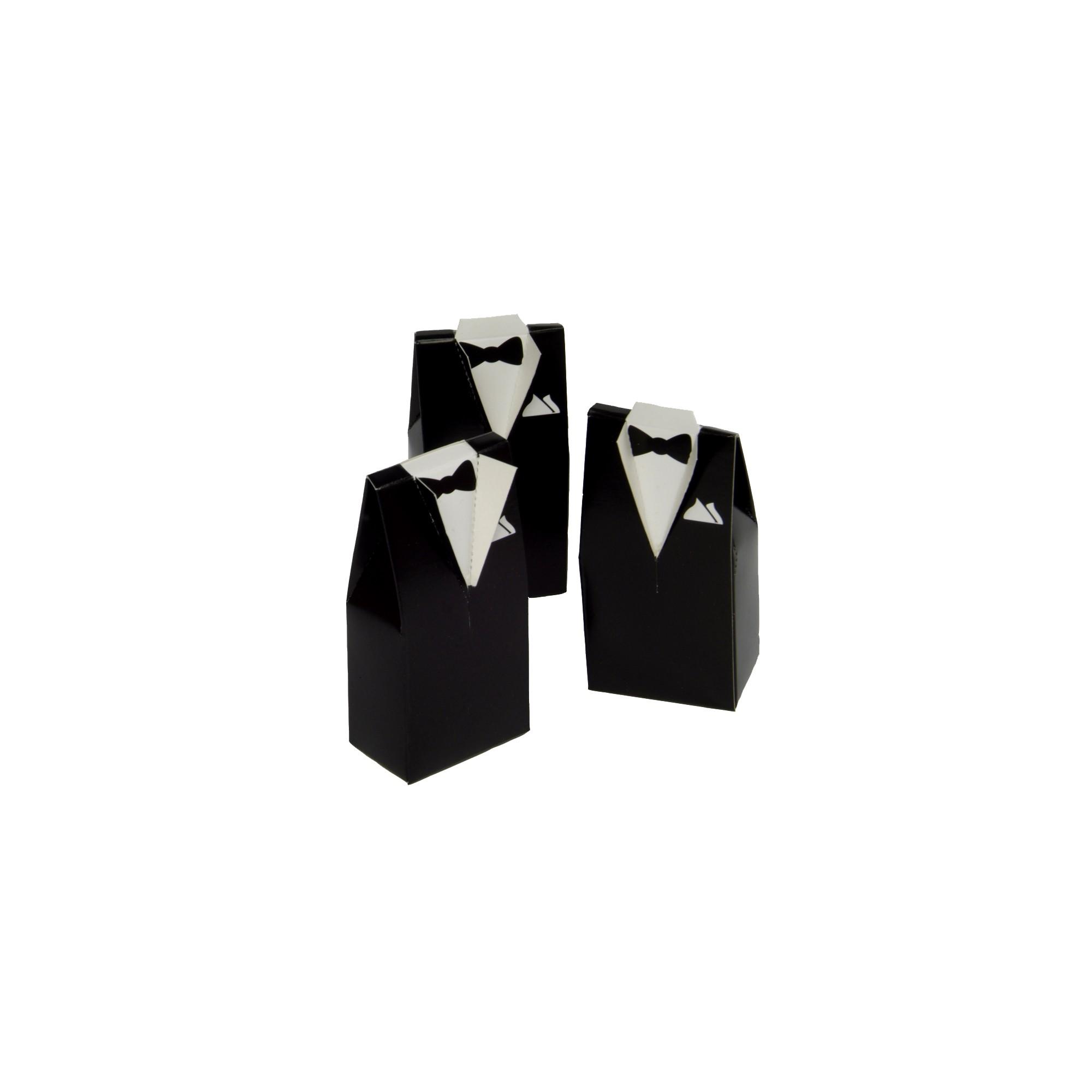 25ct Tuxedo Shaped Wedding Favor Boxes White