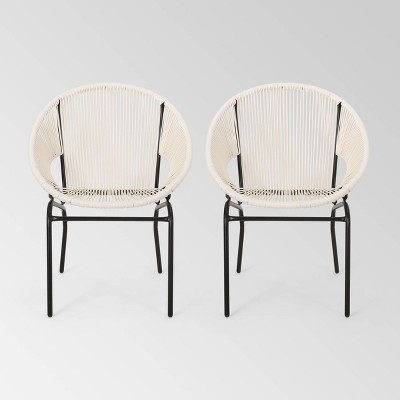 Nusa Set of 2 Faux Rattan Modern Club Chairs - White - Christopher Knight Home