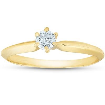 Pompeii3 14k Yellow Gold 1/5ct Round Solitaire Diamond Engagement Ring