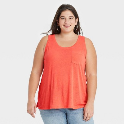 Women's Plus Size Linen Tank Top - Ava & Viv™