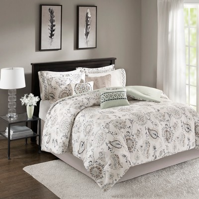 Blue Virginia Cotton Sateen Comforter Set (King)9pc