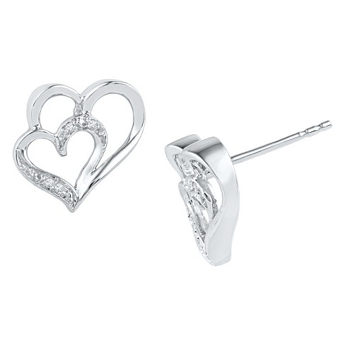 1/20 CT. T.W. Round Diamond Prong Set Double Heart Earring in Sterling Silver (IJ-I2-I3) - image 1 of 1