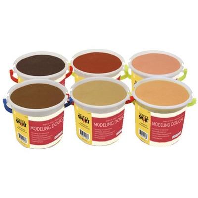 School Smart Multi-Ethnic Modeling Dough Set, 1 Pound, Assorted Skin Tone Colors, set of 6