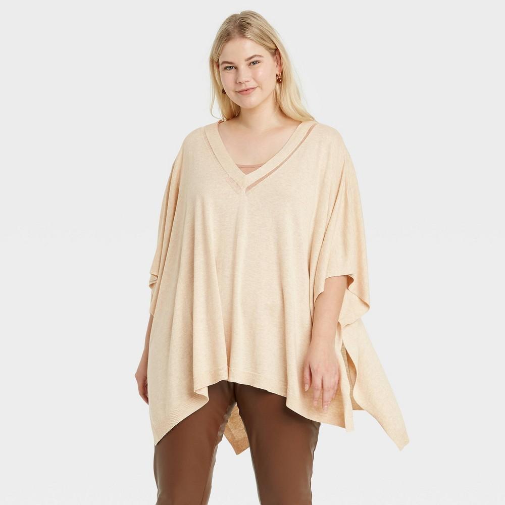 Women 39 S Plus Size V Neck Knit Poncho A New Day 8482 Tan One Size