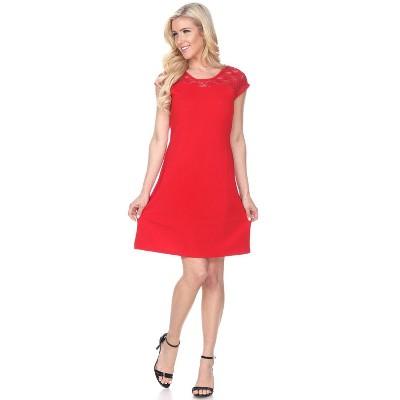 Women's Short Sleeve Lace Trim Pelagia Dress - White Mark