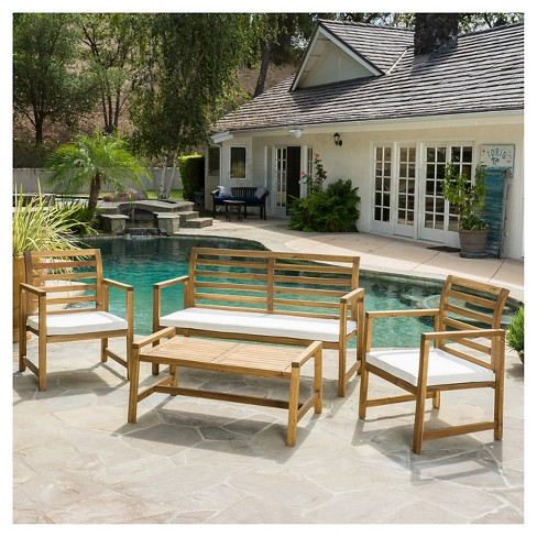 Emilano 4pc Acacia Wood Patio Chat Set with Cushions - Natural Stained - Christopher Knight Home - image 1 of 4