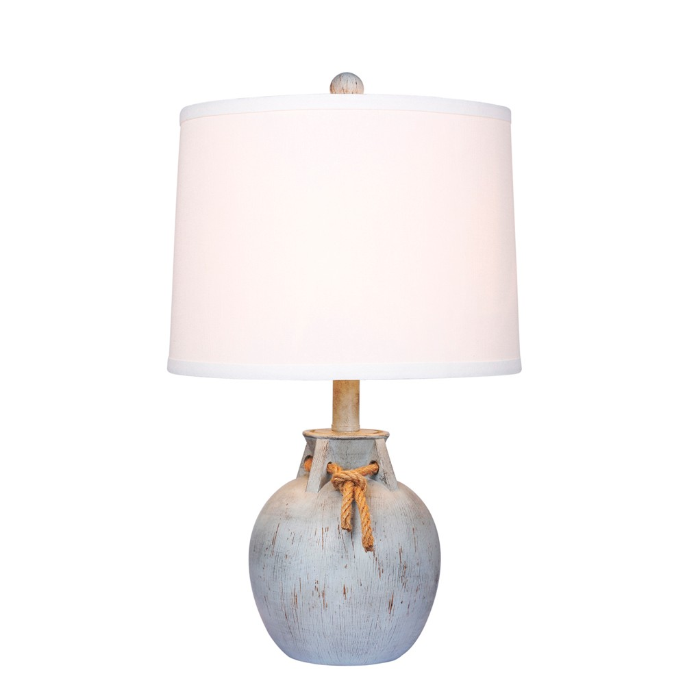 Distressed Jug with Rope Collar Resin Table Lamp Antique Blue (Lamp Only) - Fangio Lighting