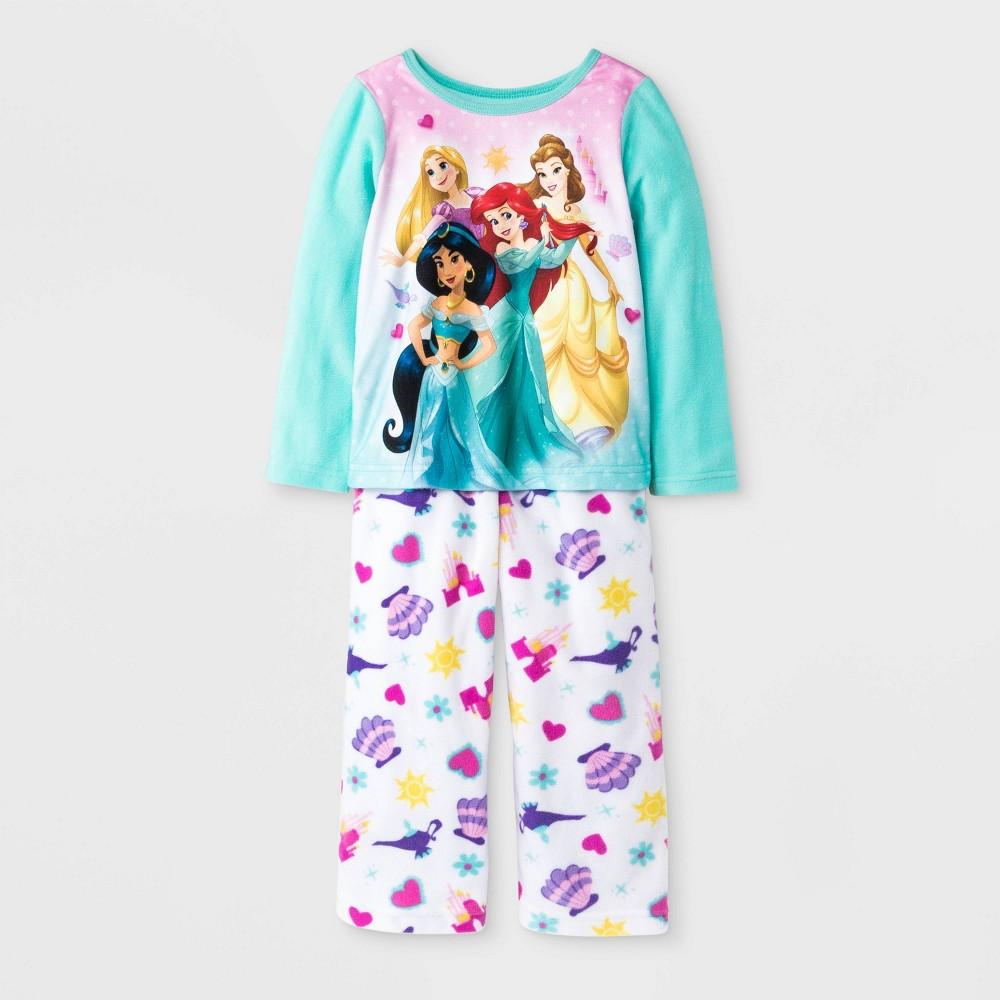 Image of Baby Girls' Disney Princess Fleece Pajama Set - Aqua Blue/White 12M, Girl's, Blue/blue/White