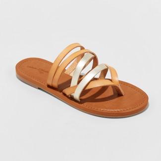 Women's Maritza Multi Strap Toe Slide Sandal - Universal Thread™ Tan 8.5