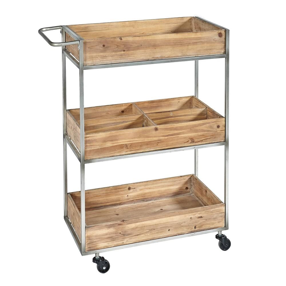 Buford Metal and Wood Cart Natural - Linon Buford Metal and Wood Cart Natural - Linon