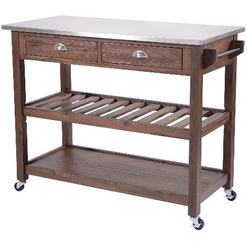 Sonoma Kitchen Cart with Stainless Steel Top Chestnut Wire Brush - Boraam