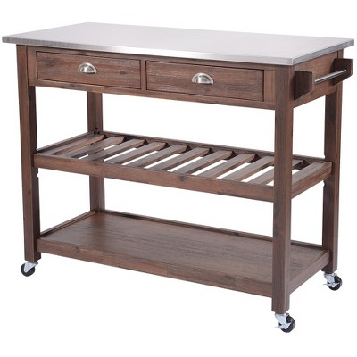 Beau Sonoma Kitchen Cart With Stainless Steel Top Chestnut Wire Brush   Boraam :  Target