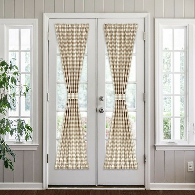 Kate Aurora Plaid Country Farmhouse French Door Curtain Panel With Matching Tieback