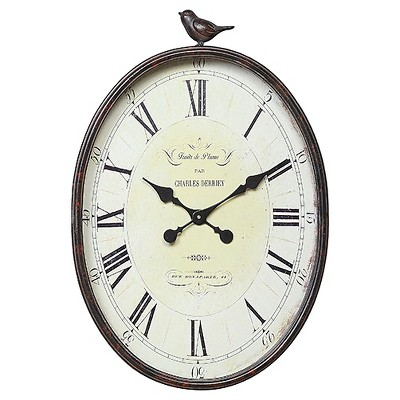 "17"" x 25-1/4"" Metal Wall Clock with Bird Rust - 3R Studios"