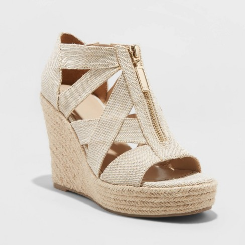 Women's Macie Zip Front Espadrille Wedge - A New Day™ Cream 8 - image 1 of 3