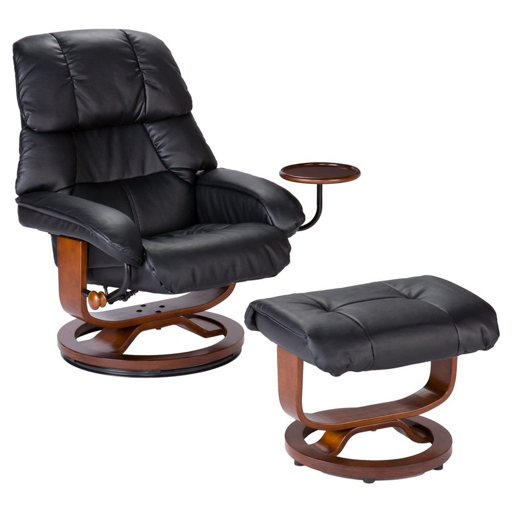 Image of 2pc Bonded Leather Recliner and Ottoman - Black - Aiden Lane