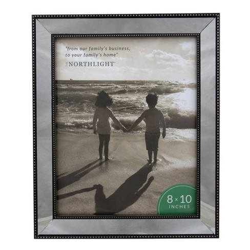 """Northlight 8"""" x 10"""" Silver Studded Glass Mirror Encased Photo Picture Frame - image 1 of 4"""