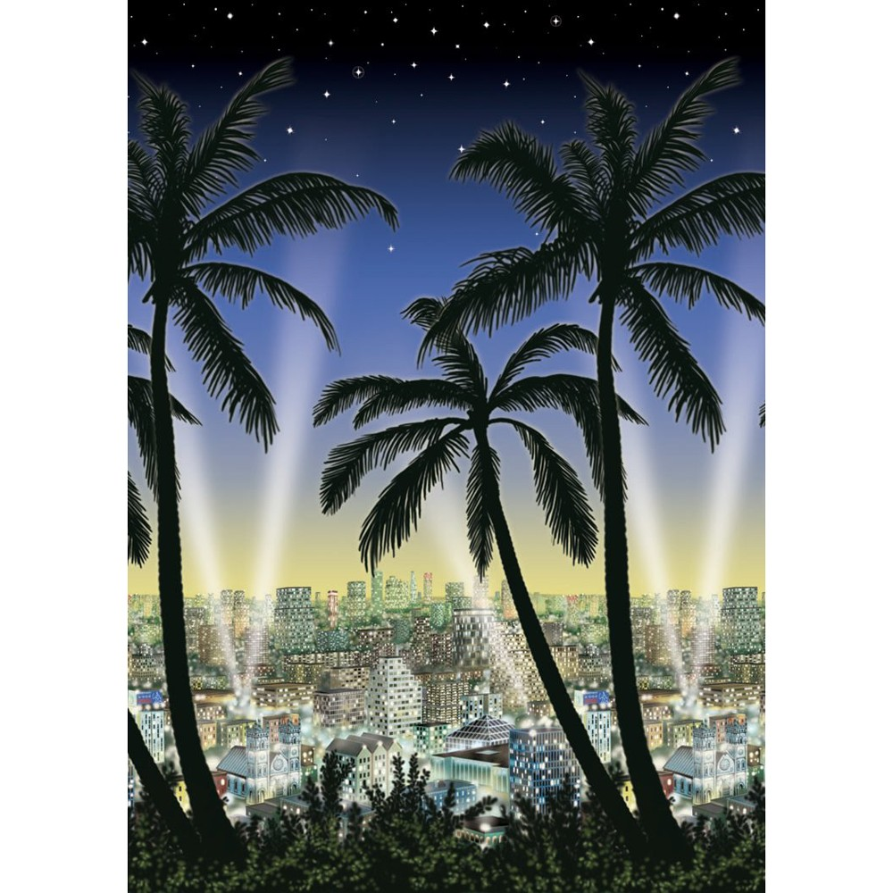 Hollywood City Scape Party Room Roll Backdrop