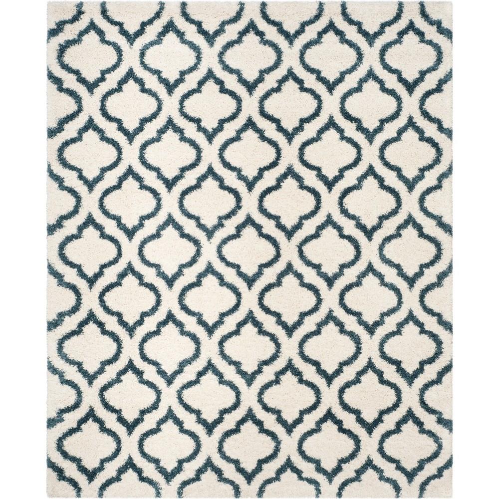 9'X12' Quatrefoil Design Loomed Area Rug Ivory/Slate Blue - Safavieh