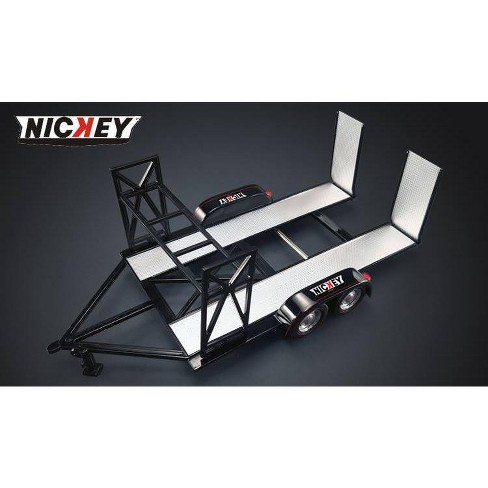 Nickey Chevrolet Tandem Car Trailer with Tire Rack 1/18 Diecast Model by GMP - image 1 of 2
