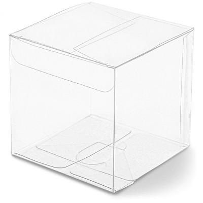 """50-Pack Clear Candy Treat Box, Transparent Cube Gift Boxes 3"""" for Wedding Party Favors Baby Shower"""