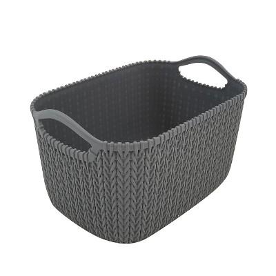 Homz 2211050 9.5 Inch Durable Weave Style Rattan Plastic Gray Versatile Storage Bin Basket Organizer with Handles, Small